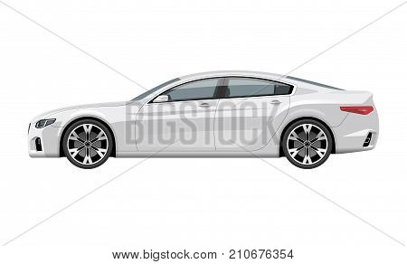 Modern generic car. Side view of realistic detailed vector car. Middle class sedan isolated on white background.