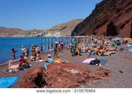 Beautiful Red Beach On The Greek Island Of Santorini.