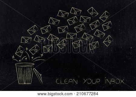 Group Of Emails Flying Into The Bin