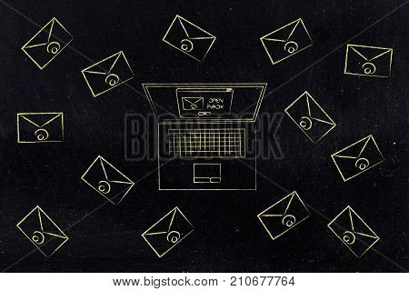 Laptop Surrounded By Email Envelopes To Open