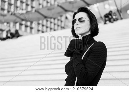 Girl In Fashionable Glasses Outdoor.