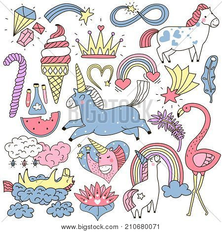 Cute unicorn and fairy elements colorful doodle set including crown, crystals, clouds, feathers isolated vector illustration