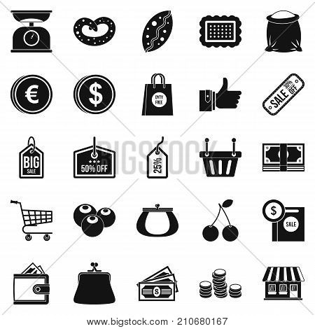 Buying in store icons set. Simple set of 25 buying in store vector icons for web isolated on white background
