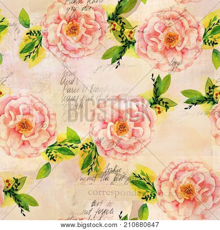 A seamless pattern with a watercolor drawing of a blooming pink rose with green branches and leaves, faded and toned, with scraps of old greeting cards and letters, vintage style collage repeat print