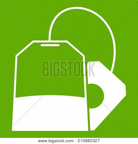 Teabag icon white isolated on green background. Vector illustration