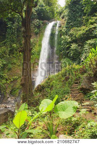 Big Git Git waterfall. Bali island. Indonesia.