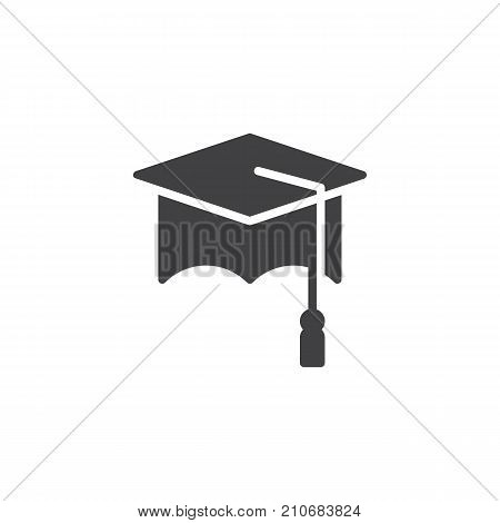 Graduation cap icon vector, filled flat sign, solid pictogram isolated on white. Symbol, logo illustration.