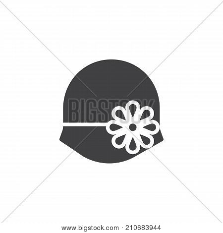 Women's hat bowler icon vector, filled flat sign, solid pictogram isolated on white. Symbol, logo illustration.