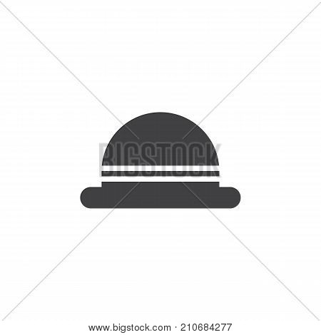 Men's hat bowler icon vector, filled flat sign, solid pictogram isolated on white. Symbol, logo illustration.