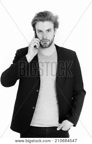 formal man. young bearded man with formal jacket using mobile phone device guy isolated on white background