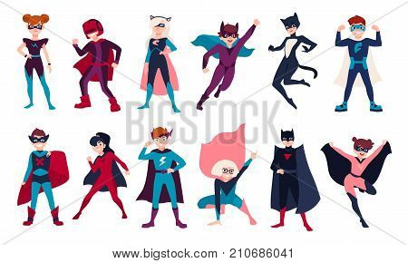 Bundle of kids superheroes. Bundle of boys and girls with super powers. Set of children cartoon or comic characters wearing tight-fitting costumes and capes. Colorful flat vector illustration
