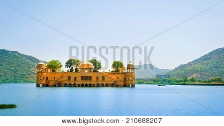 The palace Jal Mahal. Jal Mahal (Water Palace) was built during the 18th century in the middle of Man Sager Lake. Jaipur Rajasthan India.