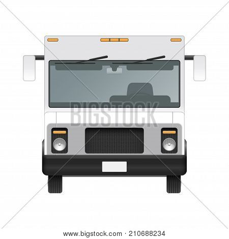 White food truck vector mock up template. Front view of realistic modern delivery service vehicle isolated on white background. Can be used for branding, logo placement, advertising