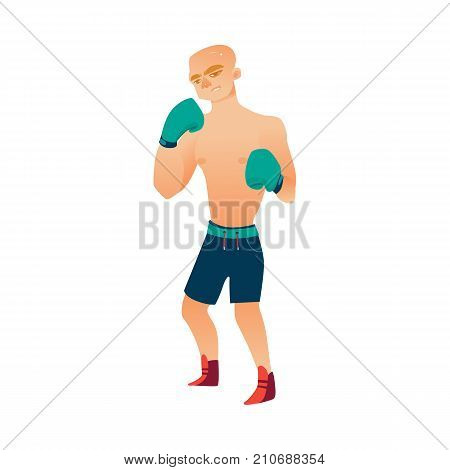 vector cartoon stylized brutal thin, ordinary man bare torso and chest in boxing stand with green box gloves ready to fight in blue shorts. Isolated illustration on a white background.