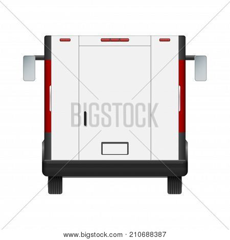 White food truck vector mock up template. Rear view of realistic modern delivery service vehicle isolated on white background. Can be used for branding, logo placement, advertising