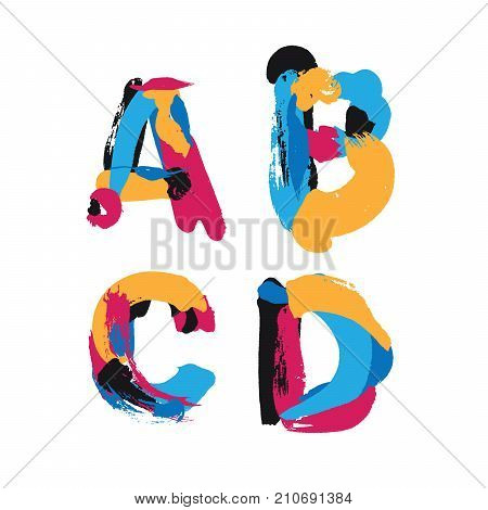 Hand drawn with ink brush strokes letters A B C and D. Bright watercolor blobs and imprints in vivid typography design.