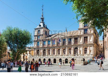 TOLEDO SPAIN - June 7 2017: Tourists in Plaza del Ayuntamiento Toledo