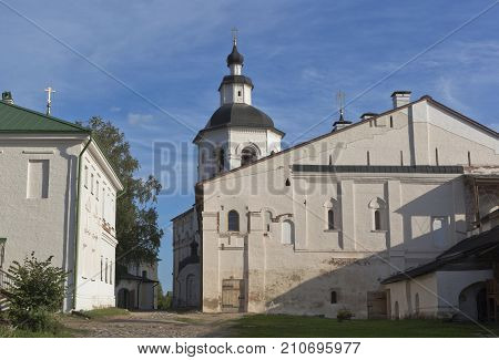 Kirillov, Vologda region, Russia - August 9, 2015: Church of Introduction of Maria to the Temple with refectory chamber in Kirillo-Belozersky Monastery