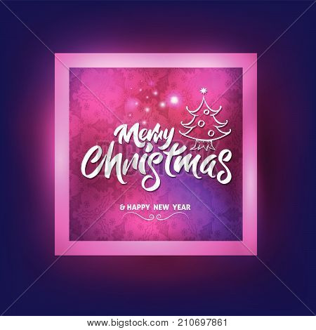 Merry Christmas with christmas tree lettering in square frame for Christmas card and advertising New Year season. Vector illustration.
