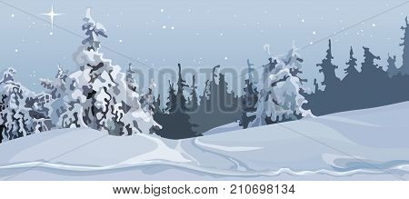 cartoon grey winter forest of snow-covered trees in the snow