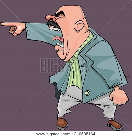 cartoon of an aggressive bald man in a suit yells menacingly