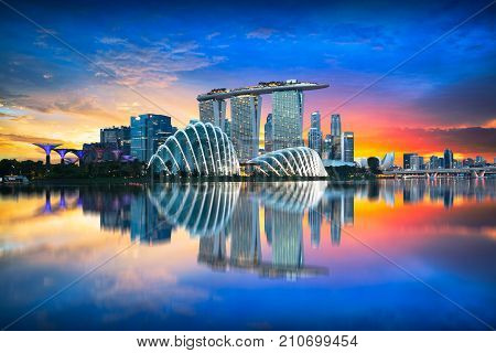 Singapore city skyline at night, Singapore city skyline