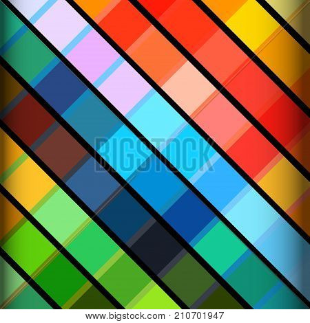 Abstract Background with Multicoloured Stripes Over Black