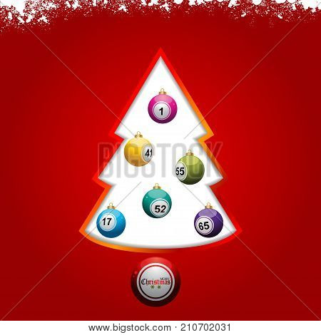 Red Festive Christmas Background with Bingo Lottery Baubles Snow Tree and Decorative Text