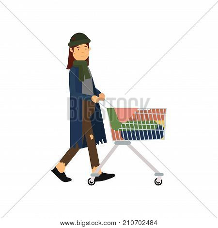 Homeless woman pushing shopping cart with her possessions, unemployment male needing for help cartoon vector illustration isolated on a white background