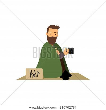 Homeless man sitting on street asking for help, unemployment man needing for help cartoon vector illustration isolated on a white background