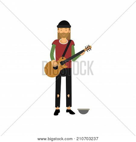 Homeless man playing guitar on the street, unemployment person needing for help cartoon vector illustration isolated on a white background