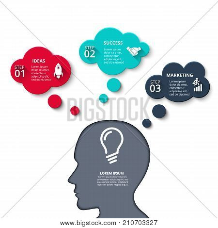 Vector human had with mind bubbles. Business thinking infographics template. Business concept with 3 options, parts, steps or processes. New idea.