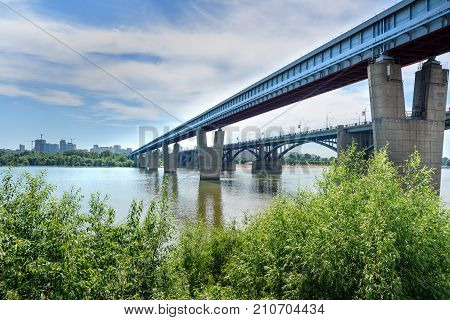 Metro Bridge Over The Ob River In Novosibirsk, Russia