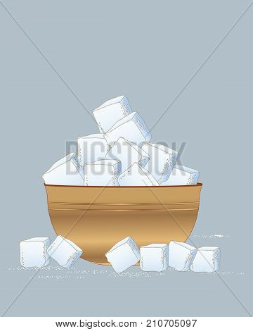 an illustration of a wooden bowl of sugar cubes scattered with sugar granules on a slate blue background