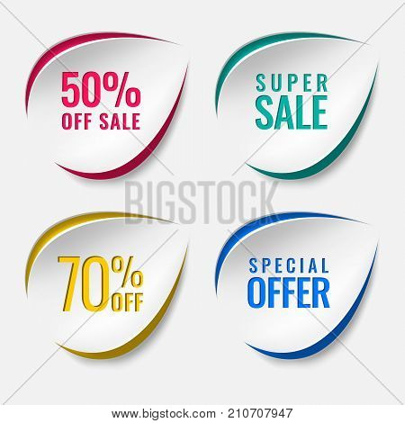 Realistic sale discount sticker, icon, label, layout with text in different colors. Cut out of paper, cardboard in the form of a drop, a leaf on a white background. Easy, convenient for your design