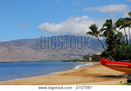Outrigger Canoe On The Beach In Maui
