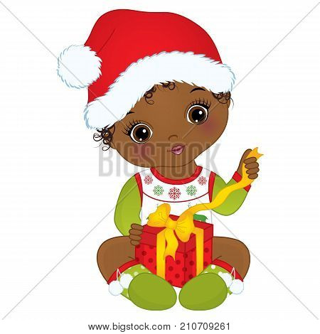 Vector cute little African American baby girl wearing Christmas clothes. Vector baby girl. Vector Christmas baby girl with gift box. African American baby girl vector illustration