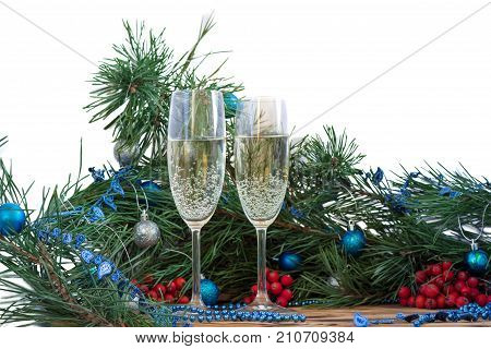Christmas And New Year Still Life, Champaign Glasses, Pine, Ornament