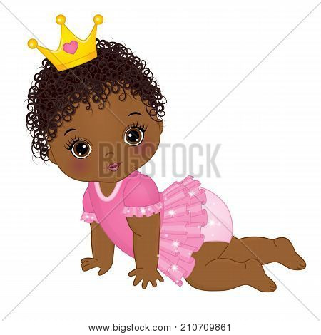 Vector cute little African American baby girl dressed as princess. Vector baby girl. Vector little princess. African American baby girl vector illustration