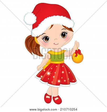 Vector cute little girl with wearing Santa hat. Vector little girl with Christmas ball. Vector Christmas girl. Little girl vector illustration