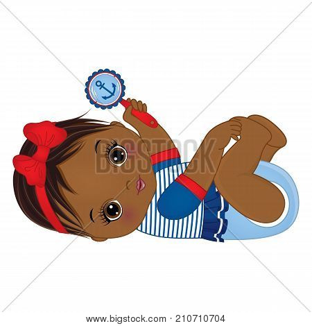 Vector cute little African American baby girl dressed in nautical style. Vector baby girl with rattle. Vector baby girl. African American baby girl vector illustration