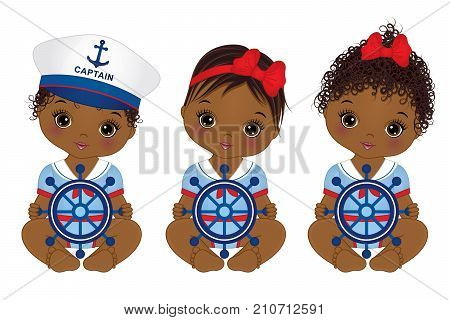 Vector cute little African American baby girls dressed in nautical style. Vector baby girls with ship wheels. Vector baby girl. African American baby girls vector illustration