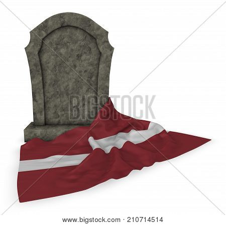 gravestone and flag of latvia - 3d rendering