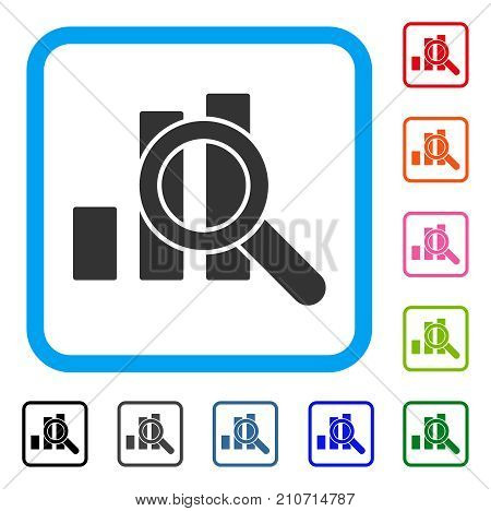 Explore Graphics icon. Flat grey pictogram symbol in a light blue rounded rectangular frame. Black, gray, green, blue, red, orange color additional versions of Explore Graphics vector.