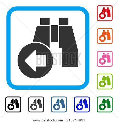 Find Previous Binoculars icon. Flat gray iconic symbol in a light blue rounded frame. Black, gray, green, blue, red, orange color variants of Find Previous Binoculars vector.