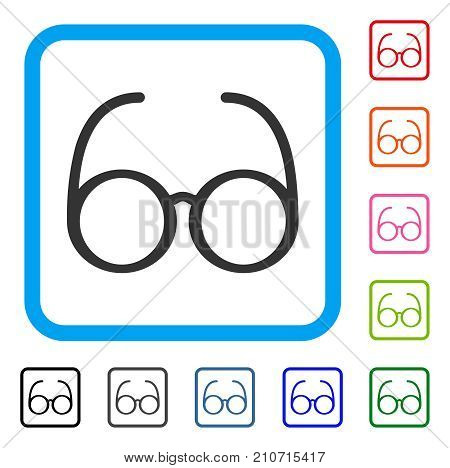 Spectacles icon. Flat grey iconic symbol in a light blue rounded square. Black, gray, green, blue, red, orange color versions of Spectacles vector. Designed for web and app interfaces.
