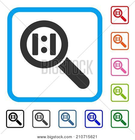 Zoom Actual Size icon. Flat gray iconic symbol in a light blue rounded square. Black, gray, green, blue, red, orange color versions of Zoom Actual Size vector. Designed for web and app user interface.