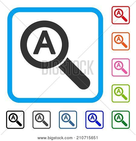 Zoom Auto Scale icon. Flat gray pictogram symbol in a light blue rounded rectangular frame. Black, gray, green, blue, red, orange color variants of Zoom Auto Scale vector.