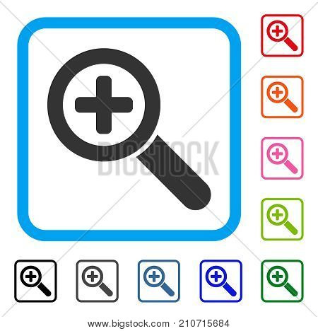 Zoom In icon. Flat gray iconic symbol inside a light blue rounded rectangle. Black, gray, green, blue, red, orange color variants of Zoom In vector. Designed for web and application interfaces.