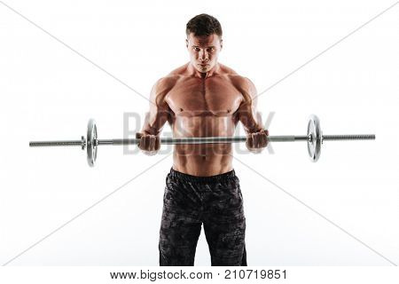 Portrait of strong sweaty sports man in black shorts exercising with barbell, looking at camera isolated on white background